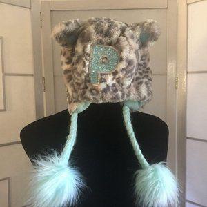 NWOT Justice Animal Print Faux Fur Hat Letter P  G